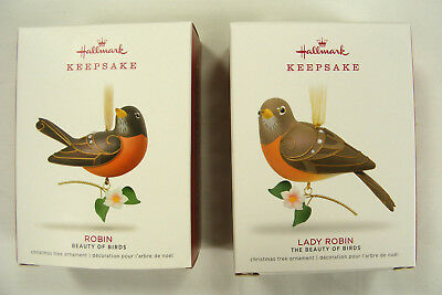 HALLMARK 2018 Beauty of Birds Robin & Lady Robin Christmas Ornament Set