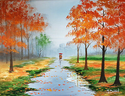 Mal.burton Original Art Oil Painting     Rainy Days    Autumn Walk
