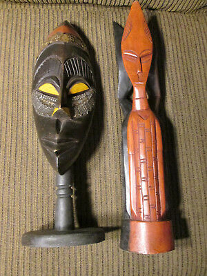Set of 2 Wooden masks / statues from Ghana / Africa (#121)