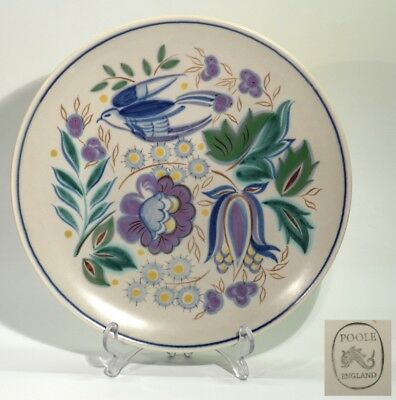Vintage Hand Painted Poole Pottery Plate - Flying Birds & Flowering Foliage.