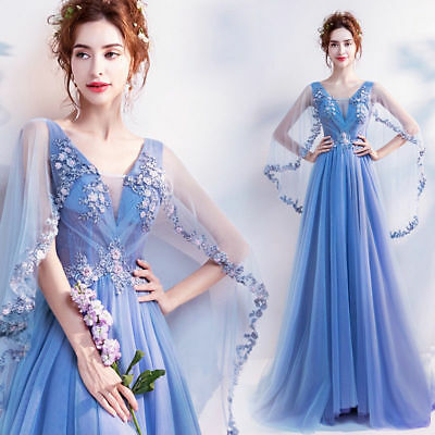 FZ43 Blue Floral Wedding Bridal dress Formal Prom Party Ball Gown Evening Gift