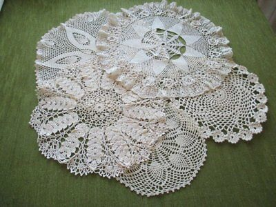2 Vintage Table Centers & 3 Mats Hand Crochet - Cream - Col. Of 5