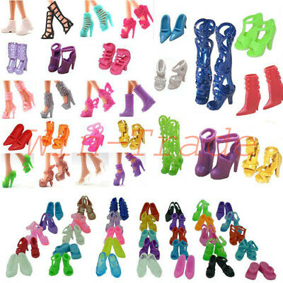10 Pair Barbie Dolls Shoes Princess Party Dress Clothe Heels Sandals Mixed Style