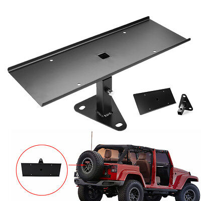 For 07-18 Jeep JK Wrangler Rear Spare Tire License Plate Frames Bracket Holder