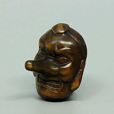 "1940's Japanese handmade Boxwood Netsuke ""Funny Mask"" Figurine Carving MJ02"