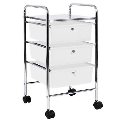 3 Drawer Trolley White Kitchen Food Storage Tier Unit Shelves By Home Discount