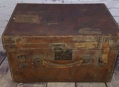 Old Antique Military Army Navy Leather Cartridge Luggage Cabin Trunk Case Box