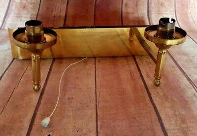 Antique Vintage Old Brass Wall Pull Cord Light Lamp 2 Holders Sconce
