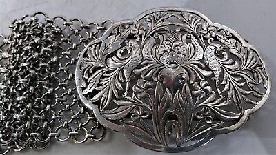 Antique Silver Belt And Buckle, Chinese Straits/malay/nonya, Early 2Oth Century