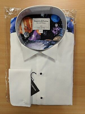 Simpson & Ruxton White Wing Party Marcella Planet Formal Evening Dress Shirt