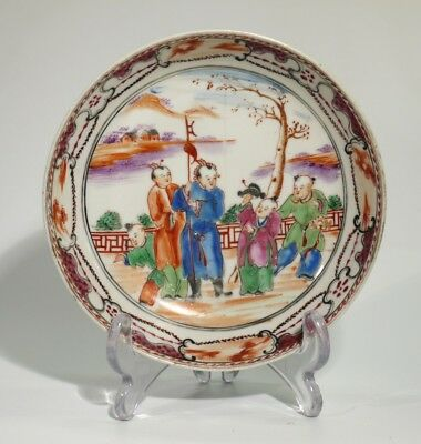 19th Century Antique Hand Painted Chinese Porcelain Dish - Puce Several Figures.
