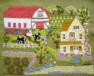 Vintage Hand Embroidered Large Unframed Green Linen Picture On The Farm