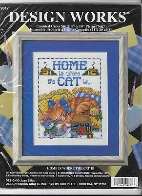 Design Works Counted Cross Stitch Tapestry Kit Home Is Where The Cat Is - New
