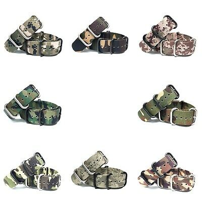 Double Weight 1.9mm Uhrenarmband Military Durable Watch Strap Camo ZULU NATO
