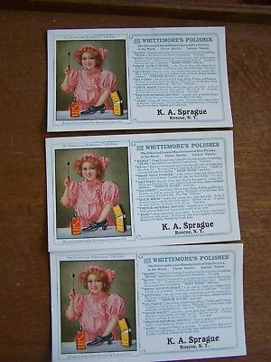 3 Whittemore's Polishes   Advertising Blotters-K A Sprague,roscoe, Ny