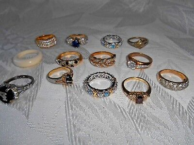 Vintage lot of  13 Rings- various sizes, stones -