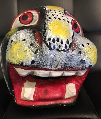 VINTAGE Antique MEXICAN Jaguar DANCE MASK Carved Wooden Mexico Folk Art