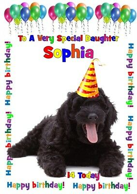 A5 Personalised birthday card labradoodle dog any name/age/relation