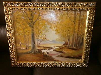 Nice Vintage Oil Painting On Board, Woodland Stream, Signed, Gilt Moulded Frame