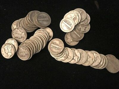 50 Mercury Dimes One Roll Silver Dimes 1St Time Ever Offered 3.617 Troy Ounces