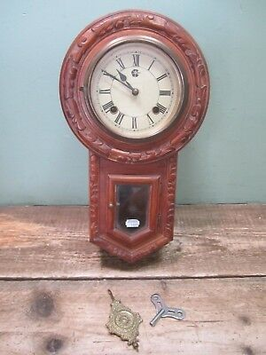 Vintage Ornate Wooden Intricate Carved Wall Pendulum Clock Untested Spares