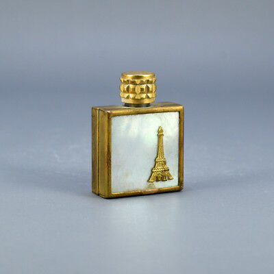 Rare Vintage Small French Glass Perfume Bottle Mother Of Pearl Metal Gold Eiffel