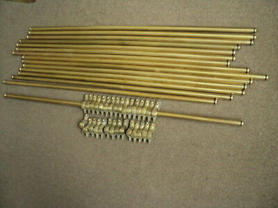 Beautiful Set Of 15  Brass  Stair Rods And 30 Hinged  Brackets