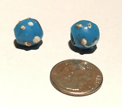 Pair of Antique Venetian Turquoise Fancy Raised Bumps African Glass Trade Beads