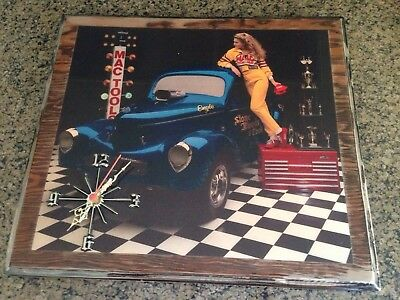 "Vintage Mac Tools Advertising Wall Clock Hot Rod Art Rare 22x20"" Made Of Wood"