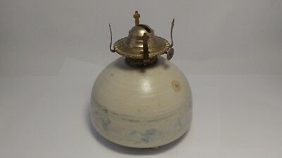 Donn Zver Studio Pottery from Troy Ontario Oil Lamp Base W/ Brass Fixture