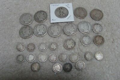 Large Lot of Barber Half Dollars, Quarters, & Dimes
