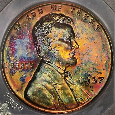 1937 1C PCGS PR-64 RB Proof Lincoln Cent Wheat Penny US Coin Rainbow TONING