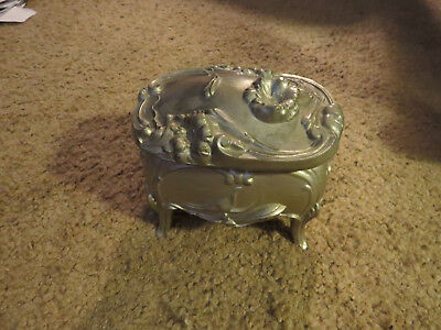 Antique Art Nouveau Footed Trinket Metal Silver Color Box W/Lid Flower Design