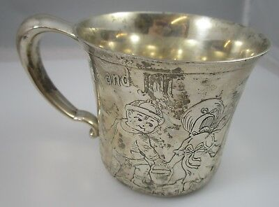 Jack and Jill Child's Cup 1922 Goosey Gander Vintage Sterling Silver 114.9 g