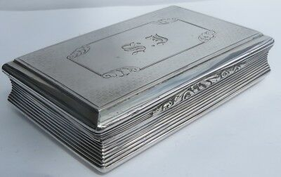 FINE EARLY VICTORIAN ENGLISH SILVER TABLE SNUFF BOX by NATHANIEL MILLS c.1844