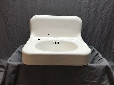 "Antique Hign Back 24"" Cast Iron White Porcelain Wall Mount Bath Sink Vtg 246-18E"