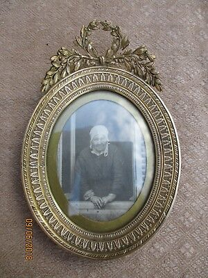 ANTIQUE FRENCH GILT BRONZE OVAL PHOTO FRAME  EMPIRE STYLE XIXth C PALMS & KNOTS