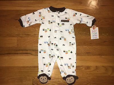 Carter's Airplane Car Monkey One-piece Footed Pajama (Size NB) NWT!
