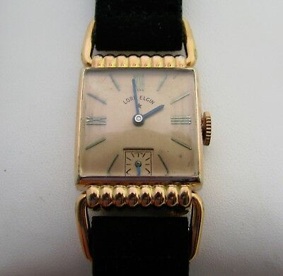 Vintage Art Deco 14K Rose Gold Filled Mens Drivers Wristwatch Watch