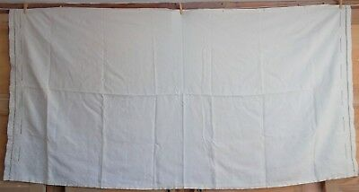 """French antique home spun hand sewn linen hnd embroidered mono CB 41""""x81"""" 104x206"""