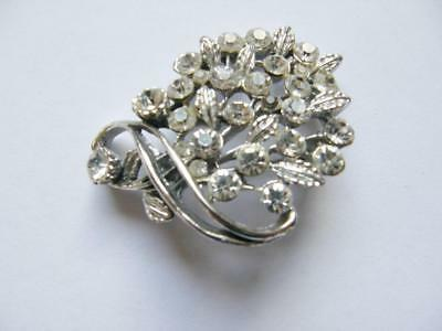 Art Deco Style Rhinestone Floral Spray Brooch Pin