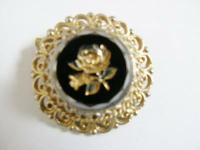 Victorian  Style Etched Rose Brooch Pin