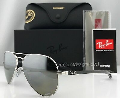 a7491bd02cc RAY-BAN RB8317CH 003 5J Carbon Sunglasses Silver Mirror Polarized Chromance  58mm
