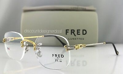 FRED Custom Eyeglasses F1-53 Cabestan Temples two Tone Gold Plated 22k Round