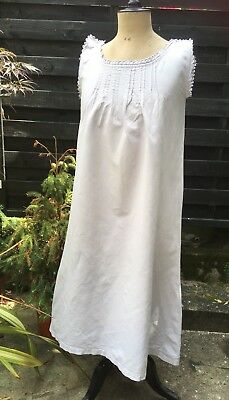 Gorgeous Antique French  Linen Metis Chemise Embroidered Monogram A G Pale Grey