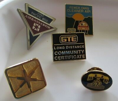 Nice 5pc PACIFIC BELL / GTE Telephone Co Lapel Pin & Tietac Lot (AP252