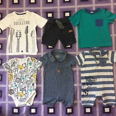 Summer Boys Bundle 9-12 12-18 Months 2x Romper Suits Shorts T-Shirts M&S Holiday