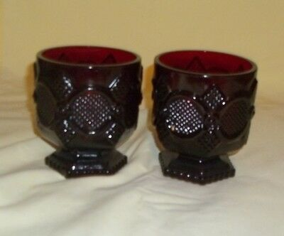Vintage Set of 2 Avon 1876 Ruby Red Glass Cape Cod Footed Pedestal Cups