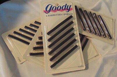 5 Vintage NEW IOP GOODY Hair Clips/Barrettes Snap Black 6 ea pack 30 clips total