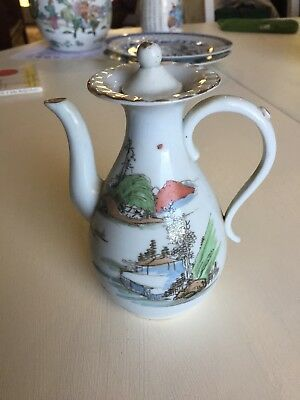Early 20th Century Republic Era Soy Sauce Pitcher With Lid Famille-Rose